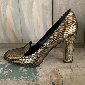 Via Spiga Leather Metallic Gold Heels 9